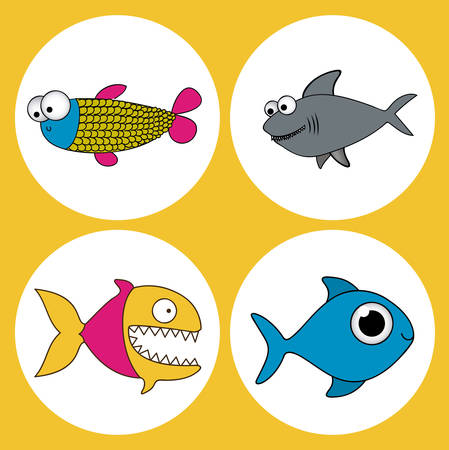 submerged: Fish design over yellow background, vector illustration