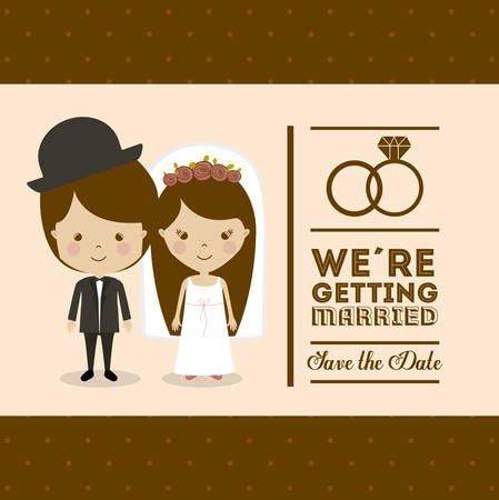 fond brun: la conception de mariage sur fond brun, illustration vectorielle