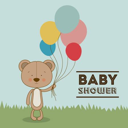 baby shower background: Baby Shower  design over blue background, vector illustration