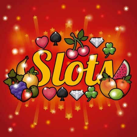 slots: Slots design over red background, vector illustration Illustration