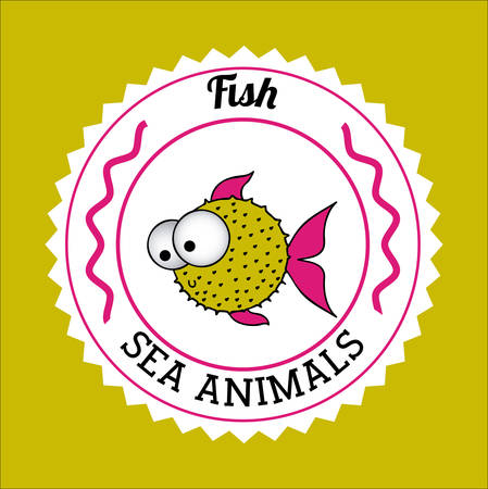 submerged: Fish design over green background, vector illustration
