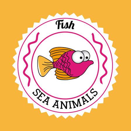 submerged: Fish design over orange background, vector illustration Illustration