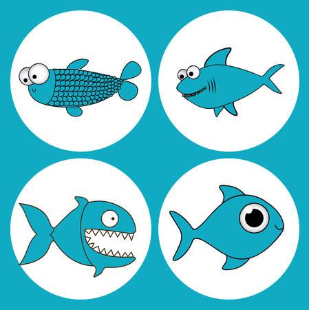 Fish design over blue background, vector illustration
