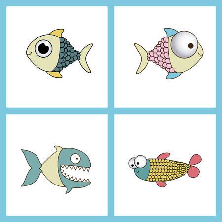 submerged: Fish design over blue background, vector illustration