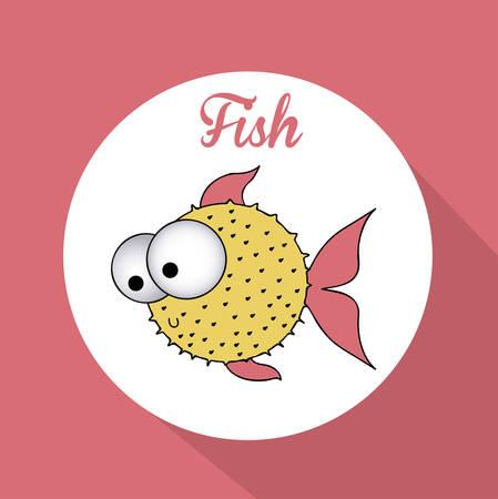 submerged: Fish design over pink background, vector illustration Illustration