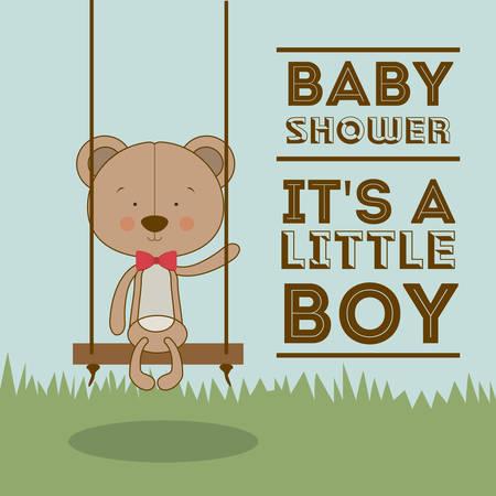teddy bear background: Baby Shower  design over blue background, vector illustration