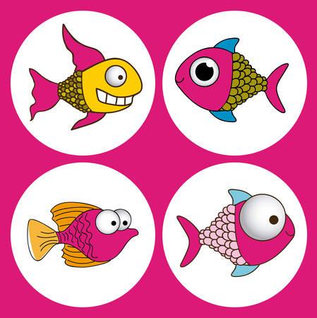Fish design over pink background, vector illustration Illustration