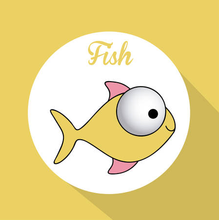 ponořený: Fish design over yellow background, vector illustration