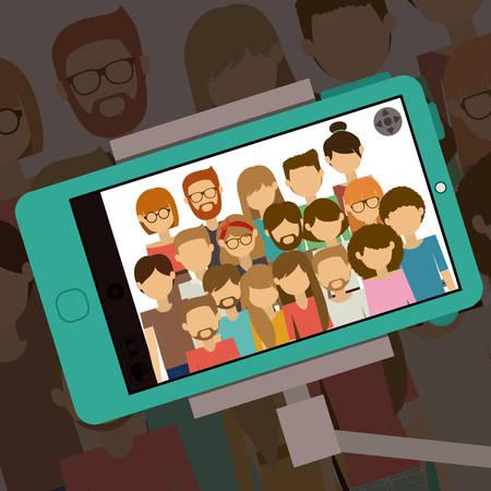 Selfie design over shadow background, vector illustration  イラスト・ベクター素材
