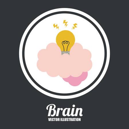 brain illustration: Brain design over black background, vector illustration