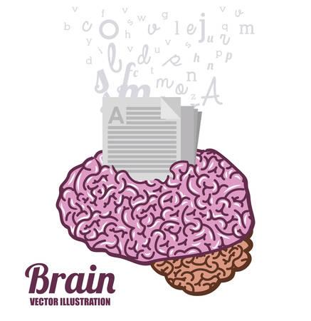 brain illustration: Brain design over white background, vector illustration