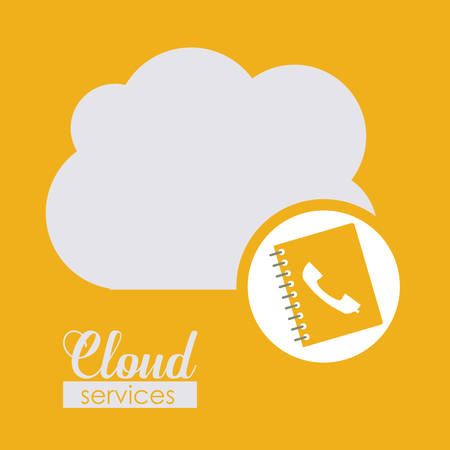 cloud services: Cloud services over yellow background, vector illustration Illustration