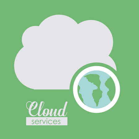 cloud services: Cloud services over green background, vector illustration