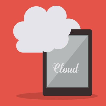 media equipment: Cloud services design over orange background, vector illustration