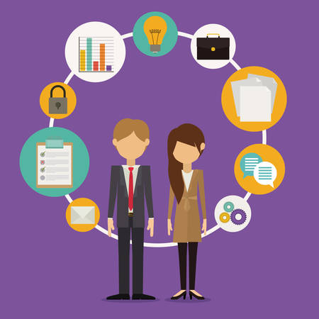 corporate people: Business design over purple background, vector illustration