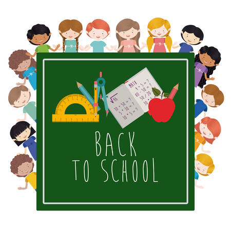 white back: Back to school design over white background, vector illustration