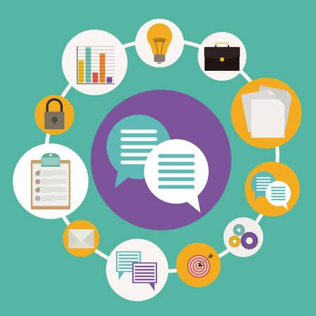 worker: Business design over green background, vector illustration