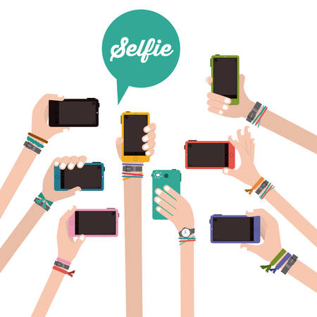 Selfie design over white background, vector illustration  イラスト・ベクター素材