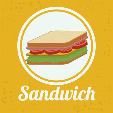 sanwich: Menu design over yellow background, vector illustration