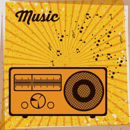 estudio de grabacion: Diseño de la música sobre fondo de rayas, ilustración vectorial Vectores