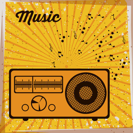 recording: Music  design over striped background, vector illustration