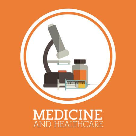 medicine background: Medicine design over orange background, vector illustration