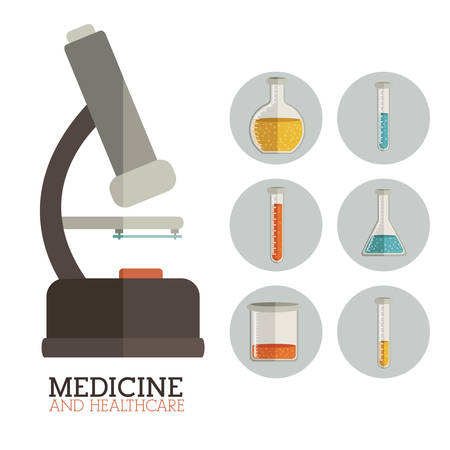 biomedical: Disegno Medicine su sfondo bianco, illustrazione vettoriale Vettoriali