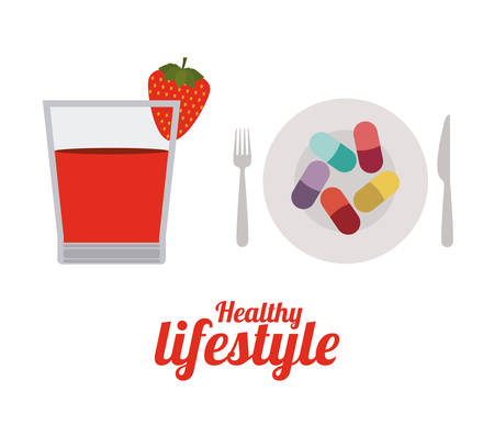 beautiful eating: Healthy lifestyle design over white background, vector illustration