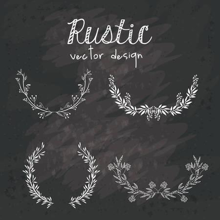 elementos: Diseño rústico sobre el fondo negro del grunge, ilustración vectorial