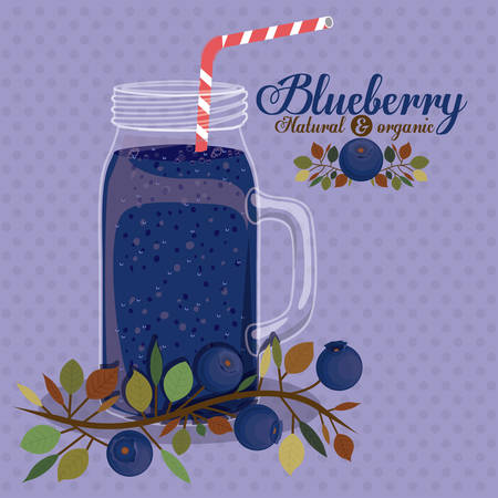 plastic straw: Blueberry design over pointed background, vector illustration Illustration