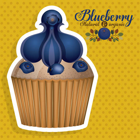 blueberry muffin: Blueberry design over pointed background, vector illustration Illustration