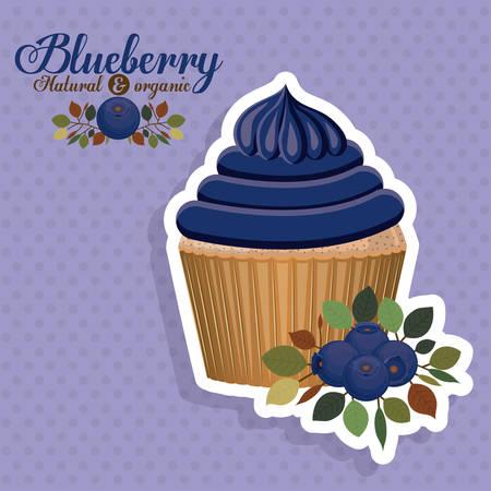 puntig: Blueberry ontwerp over puntige achtergrond, vector illustration