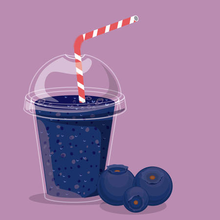 plastic straw: Blueberry design over purple background, vector illustration