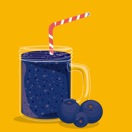 plastic straw: Blueberry design over yellow background, vector illustration Illustration