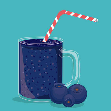 plastic straw: Blueberry design over blue background, vector illustration