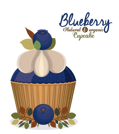 blueberry muffin: Blueberry design over white background, vector illustration Illustration