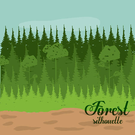fog forest: Forest design over landscape, background, vector illustration Illustration