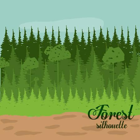 rural areas: Forest design over landscape, background, vector illustration Illustration