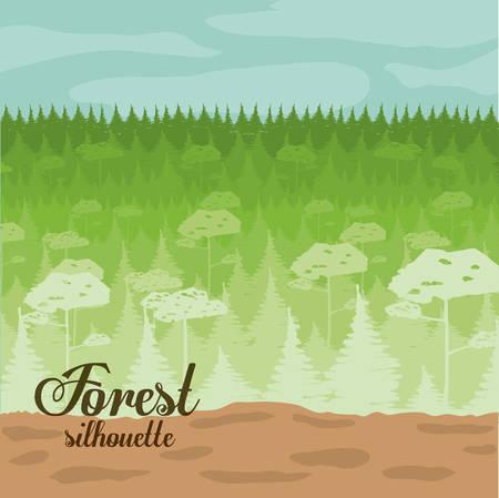 misty forest: Dise�o del bosque sobre el paisaje, fondo, ilustraci�n vectorial Vectores