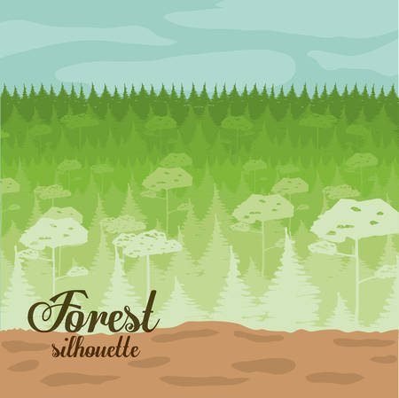 Forest design over landscape, background, vector illustration Çizim
