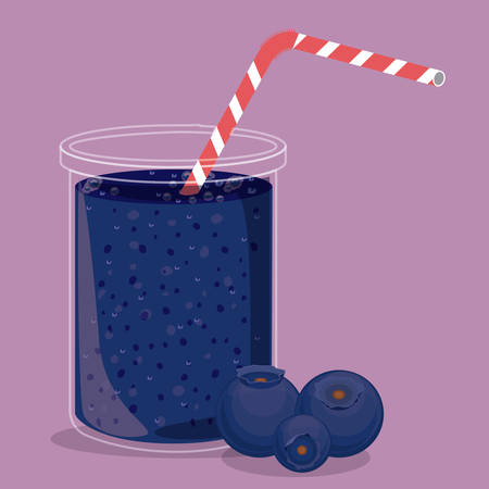 plastic straw: Blueberry juice over purple background, vector illustration Illustration