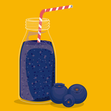 plastic straw: Blueberry juice over yellow background, vector illustration