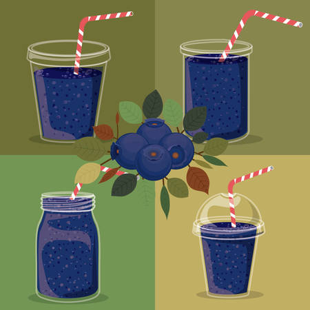 plastic straw: Blueberry juice over colored background, vector illustration