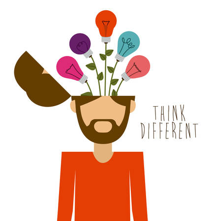 Think different design over white background, vector illustration