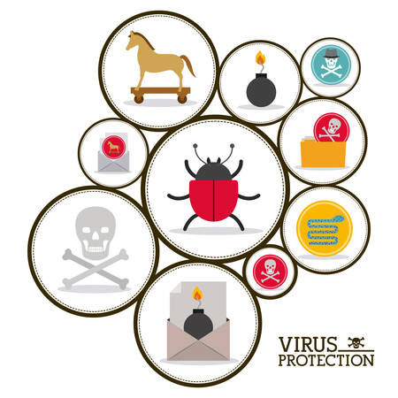 virus and security system design over white background, vector illustration
