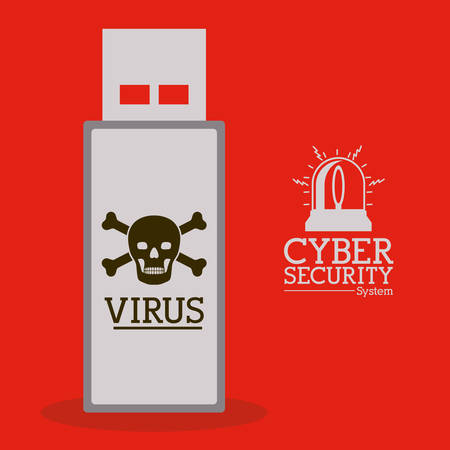 trajan: virus and security system design over red background, vector illustration