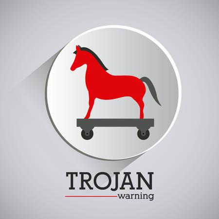 trojan horse: virus and security system design over grey background, vector illustration Illustration
