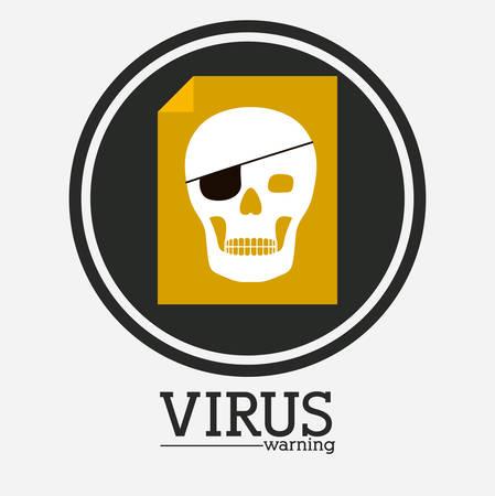 trajan: virus and security system design over white background, vector illustration