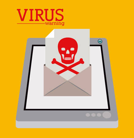 trajan: virus and security system design over yellow background, vector illustration