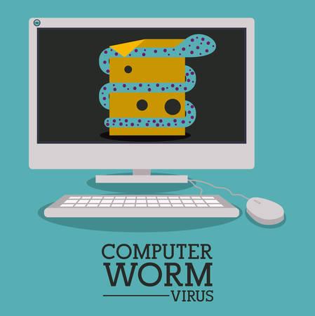 trajan: virus and security system design over blue background, vector illustration Illustration
